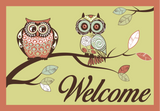 Paisley Owls - Coral Green Welcome Mat