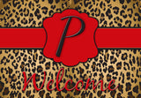 Leopard Initial Welcome Mat