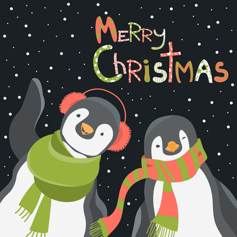 Merry Christmas Penguin Couple Vinyl Print