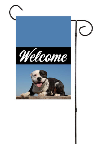 Pit Bull Dog American Staffordshire Terrier Welcome Garden Flag
