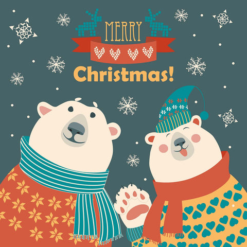 Merry Christmas Polar Bear Couple Vinyl Print