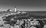 Portland Head Lighthouse in Cape Elizabeth, Maine Black & White Vinyl Print