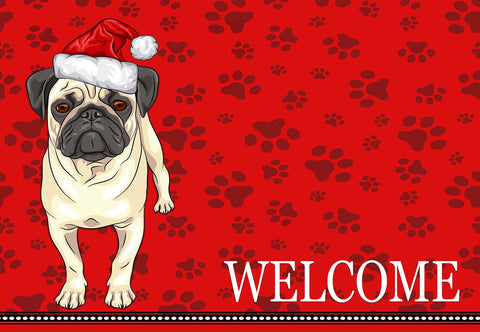 Christmas Pug Welcome Mat