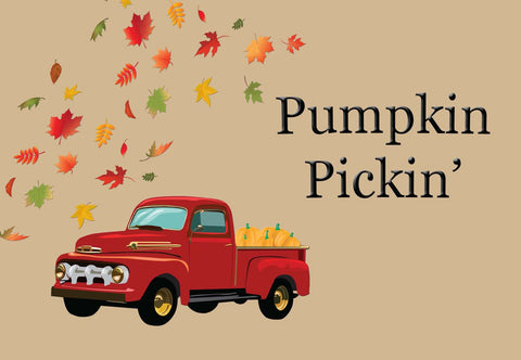 Pumpkin Pickin' - Old Truck Fall/Halloween Welcome Mat