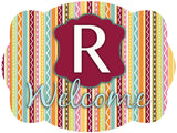 Whimsical Stripes Initial Door Hanger