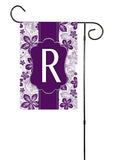 Purple Floral Initial Garden Flag