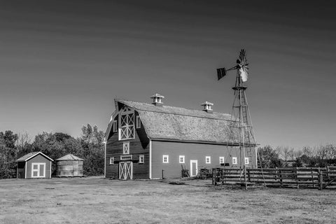 Red Barn Black & White Vinyl Print