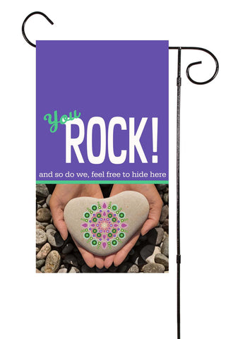 You Rock! Rock Hiding Garden Flag