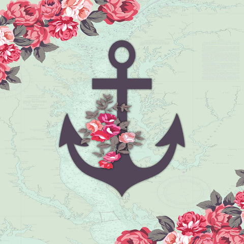 Anchor With Roses on Map - Sailcloth Print