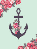 Anchor With Roses - Vinyl Print