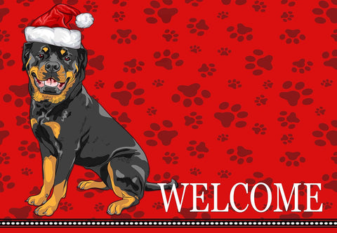 Christmas Rottweiler Dog Welcome Mat