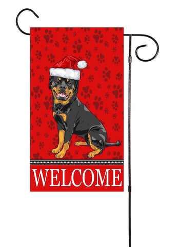 Christmas Rottweiler Dog Garden Flag