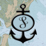Nautical Chart / Map with Anchor and Initial Square Sailcloth Print