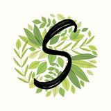 Green Leaves with Initial Square Vinyl Print