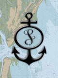 Nautical Chart / Map with Anchor and Initial Vinyl Print