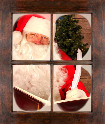 Santa Reading In The Window Vinyl Print