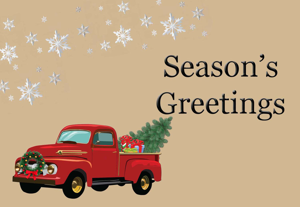 Season's Greeting - Old Truck Winter/Christmas Welcome Mat