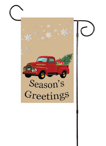 Season's Greeting - Old Truck Winter/Christmas Garden Flag