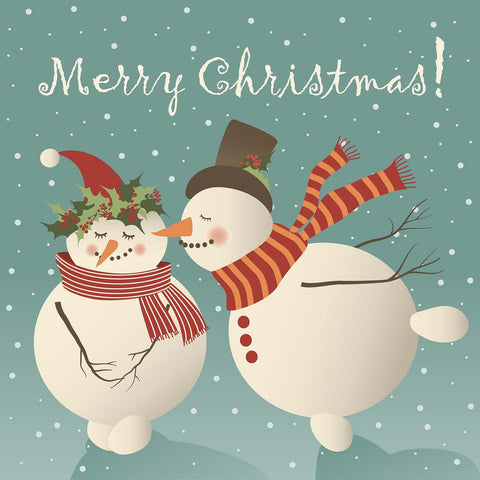 Merry Christmas Snowman Couple Vinyl Print