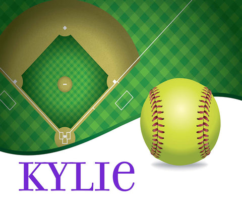 Softball - Customized Fleece Blanket