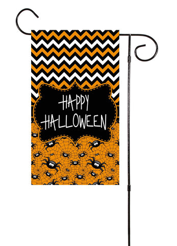 Happy Halloween Spiders Garden Flag