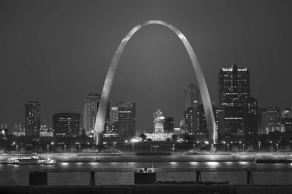 St Louis, Missouri Liberty Arch Black & White Vinyl Print