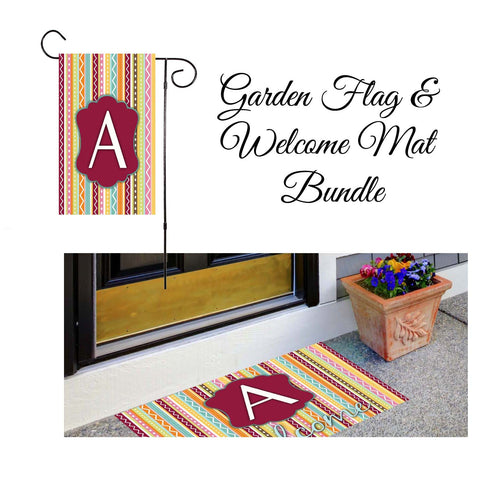 Whimsical Stripes Garden Flag & Welcome Mat Bundle