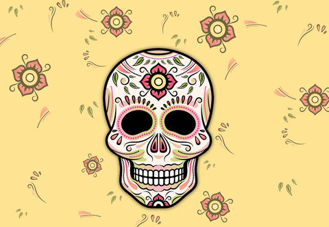 Sugar Skull Sping or Halloween Welcome Mat