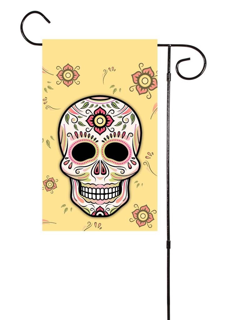 Sugar Skull Spring or Halloween Garden Flag