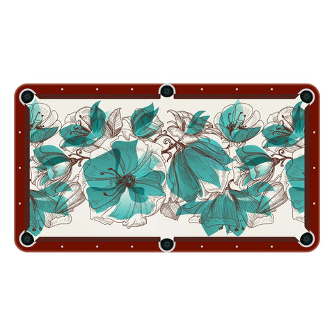 Turquoise Floral Billiards Cloth
