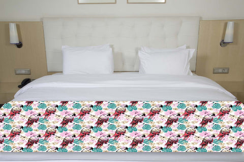 Tropical Leaves & Parrots Bed Runner