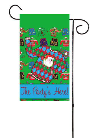 Ugly Christmas Sweater Party Garden Flag
