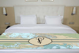 Nautical Chart with Initial Premium Bed Runner