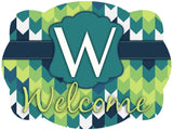 Blue & Green Chevron Initial Door Hanger