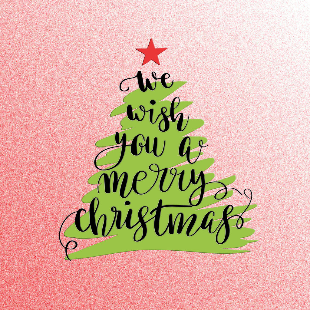 we wish you a merry christmas tree hand lettering vinyl print - We Wish You Merry Christmas