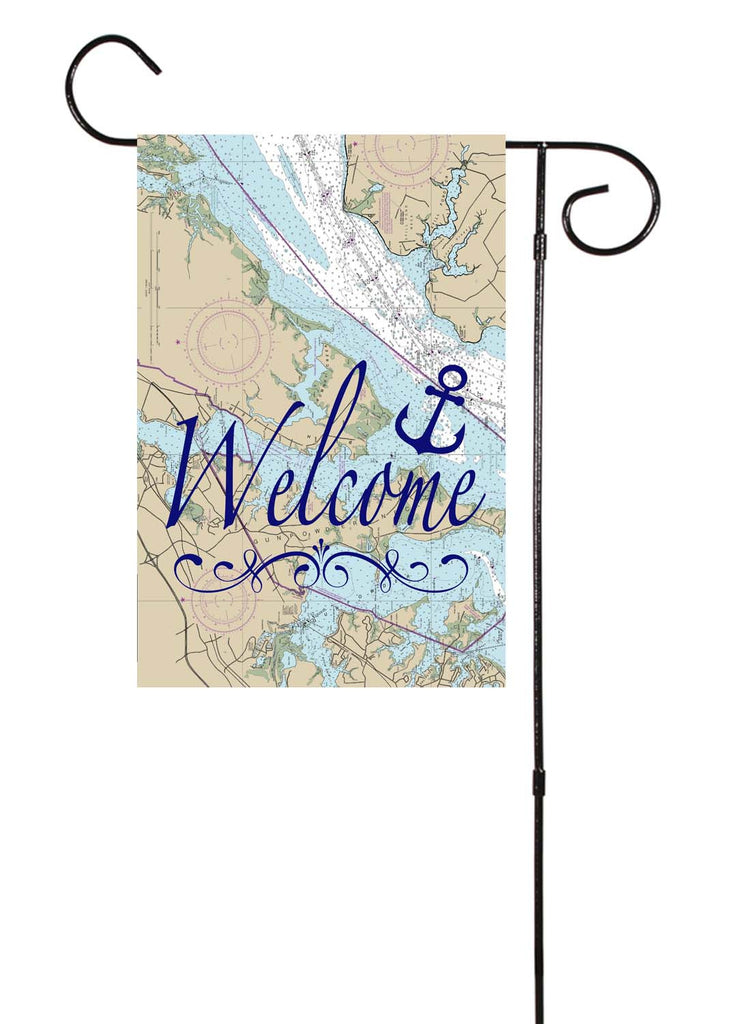 Welcome Anchor Nautical Garden Flag
