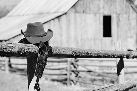 Western - Cowboy Hat On Rail Fence Post Black & White Vinyl Print