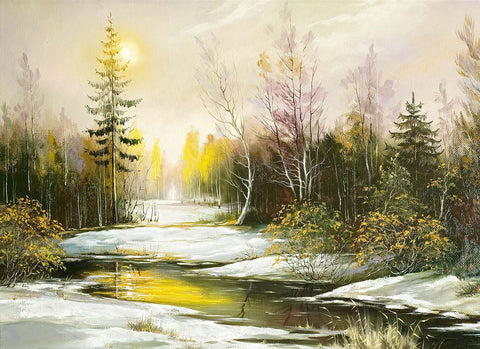 Winter Creek - Oil Painting Look Vinyl Print