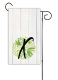 Rustic Wood and Green Leaves Initial Garden Flag