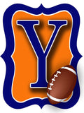 Orange & Blue Football Door Hanger