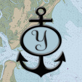 Nautical Chart / Map with Anchor and Initial Square Vinyl Print