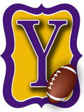 Purple & Gold Football Door Hanger