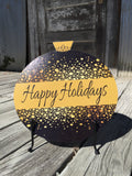 Black & Gold Christmas Ornament Door Hanger