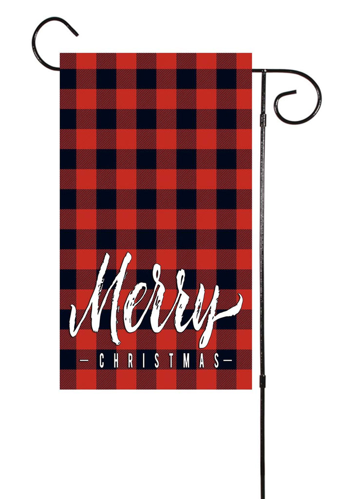 "Merry Christmas Buffalo Check Plaid 12""x18"" Garden Flag"