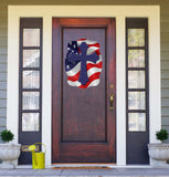 Cross On American Flag Background Door Hanger