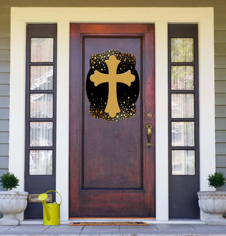 Cross On Black & Gold Background Door Hanger