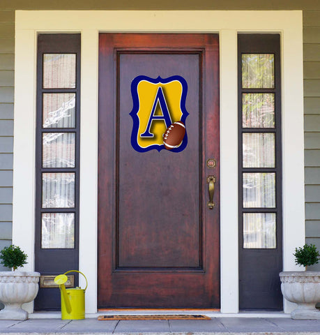Gold & Navy Football Door Hanger