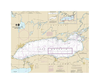 Lake Ontario Nautical Chart Vinyl Print