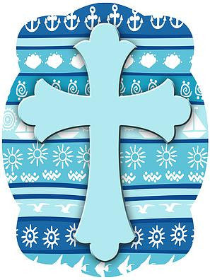 Cross On Nautical Background Door Hanger