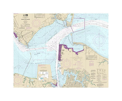 Hampton Roads Virginia Nautical Chart Vinyl Print